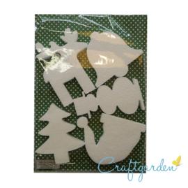Styropor - Piepschuim - set van 5 kerst vormen - rendier - kerstboom - sneeuwpop - kerstklok - kerstmuts