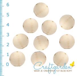 Houten - kraal - rond - onbehandeld -  15 mm - 10  stuks