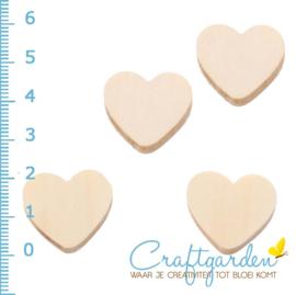 Houten kraal -  hart - 2 cm - 4 stuks