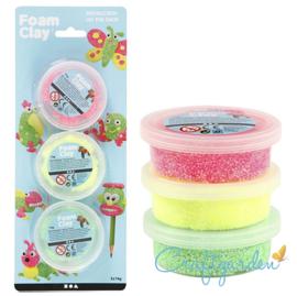 Foam Clay - neon roze, groen en geel -  3x14gr