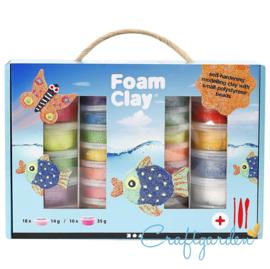 Foam clay - basis , metallic en glitter kleuren - XL pakket -  10 x 35 gram + 18 x 14 gram