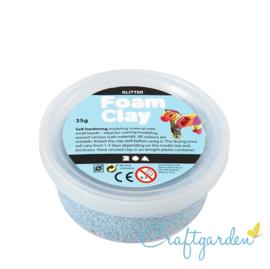 Foam Clay - glitter  - licht blauw - 35 gram