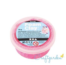 Foam Clay - glitter  - donker roze - 35 gram