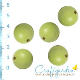 Houten - kraal - rond - appel groen -  20 mm - 5 stuks