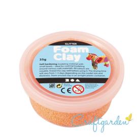 Foam Clay - glitter  - oranje - 35 gram