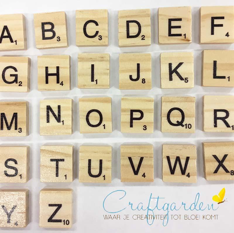 Letter - vierkant - scrabble - hout -  20 x 18 mm - keuze letter