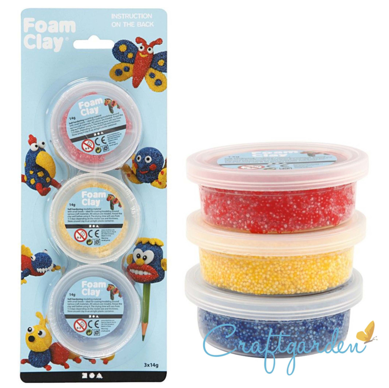 Foam Clay - rood, geel, blauw -  3x14gr