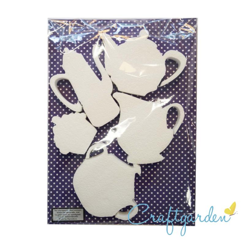 Styropor - Piepschuim - set van 5 thee vormen - theepot - suikerpot - melkkan - cupcake