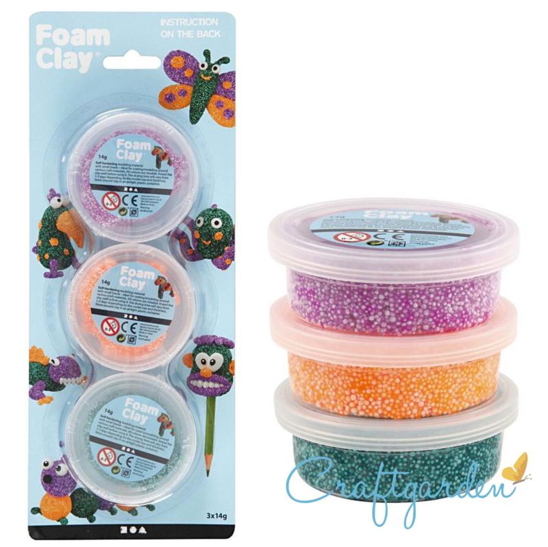 Foam Clay - groen, paars, neon oranje -  3x14gr