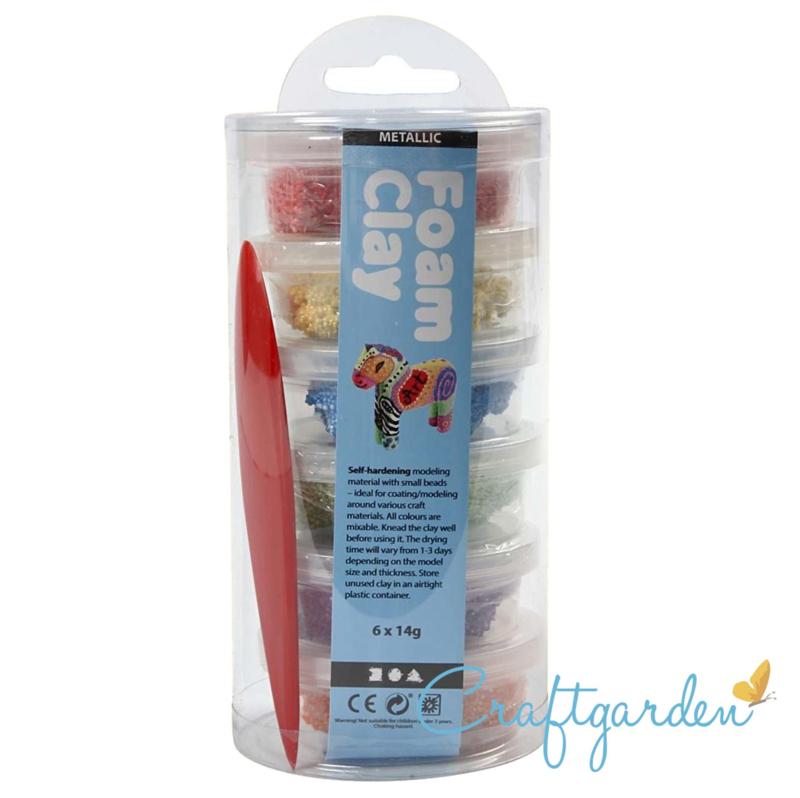 Foam clay - metallic -  primaire kleuren - 6 x14 gram