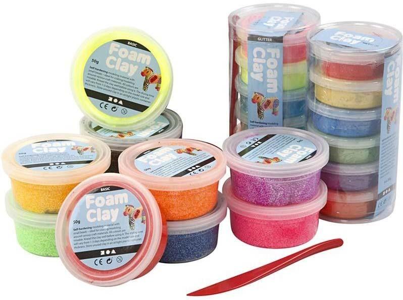 foamclay - foam clay - metallic - glitter - basis kleuren  - craftgarden - balletjes - klei