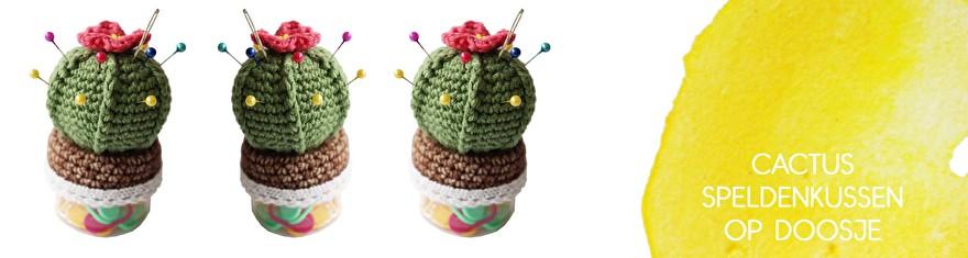 patroon - haken - cactus - speldenkussen - doosje