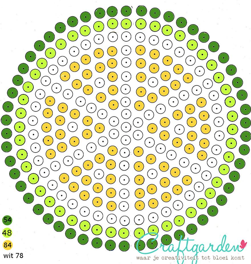 patroon - deksel -rietje - beker - strijkkralen -  citroen