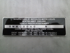 Matchless Frame ID Plate