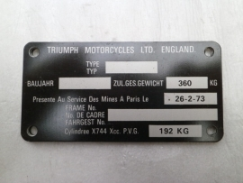 Triumph Frame ID Plate