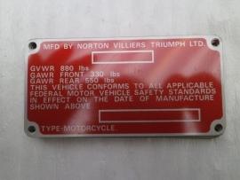 Norton Frame ID Plate