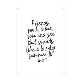Tuinposter Friends, food, wine