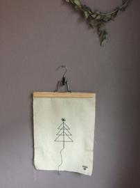 Limidit edition xmas tree gestikt op stof Lemonwise