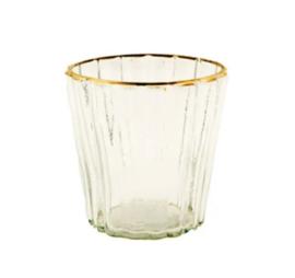 Mrs bloom waxinehouder glas met goud