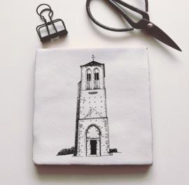 Keramiek tegeltje oude toren Puiflijk