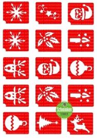 sjablonen set voor glittertattoos Kerst