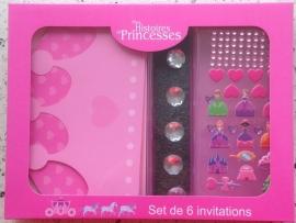 Prinsessen uitnodigingen (6 stuks)