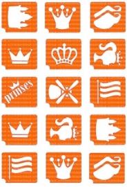 sjablonen set voor glittertattoos Koningsdag/Holland