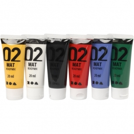acrylverf diverse kleuren 20 ml. 6 flesjes in verpakking