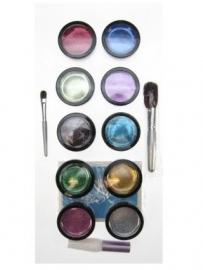 Glittertattoo set, 10 kleuren 43855 (eventueel sjablonenset voordelig meebestellen)