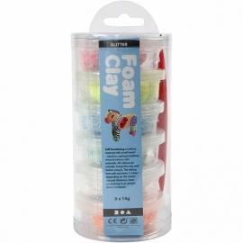 Foam klei (6 doosjes met glitterkleuren)