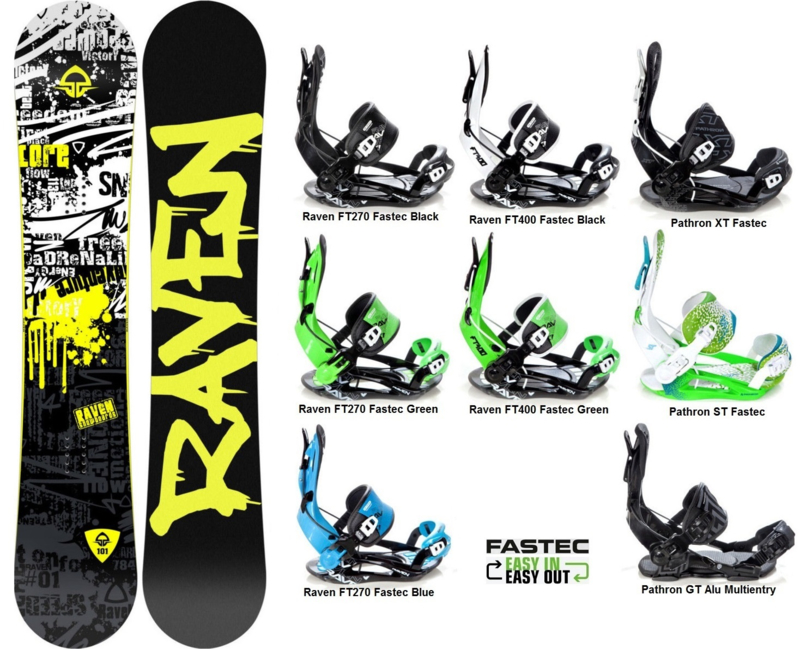 Raven Core 2019 Snowboard + Fastec Bindingen