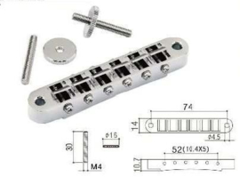 Gotoh Les Paul bridge nickel, studs 4mm