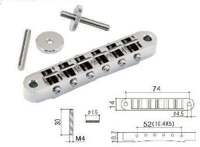 Gotoh Les Paul bridge nickel, studs 4mm