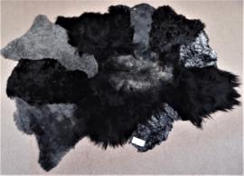 Zwart-Grijs Schapenvacht Tapijt, +/- 160 x 210 cm