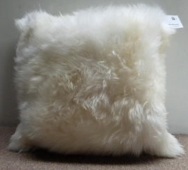 White Sheepskin Cushion L