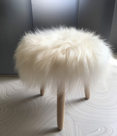 White Icelandic Sheepskin Stool