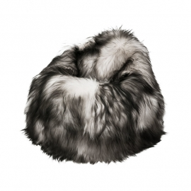 White with Black Tips Icelandic Sheepskin Bean Bag