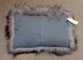 Grey with Black tips Icelandic Sheepskin Cushion
