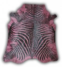 Zebra Printed Cowhide Pale Pink