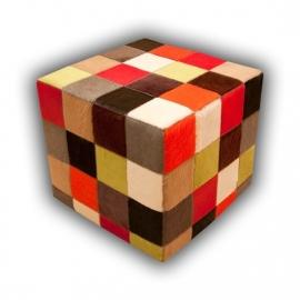 Koeienhuid Poef multi-color uniforme kleuren