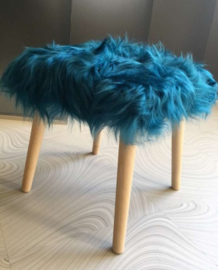 Emerald Green Semi-Long Haired Sheepskin Stool