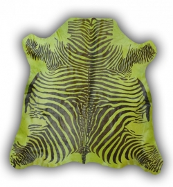 Zebra Printed Cowhide Green
