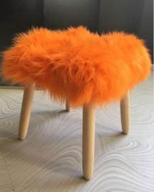 Orange Semi-Long Haired Sheepskin Stool