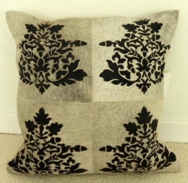 Laser Cut Grey Cowhide Cushion (2)