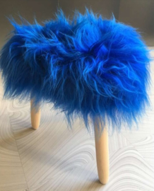 Cobalt Blue Icelandic Sheepskin stool