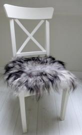 Chair Pad Icelandic Sheepskin, Grey with Black tips, Long wool