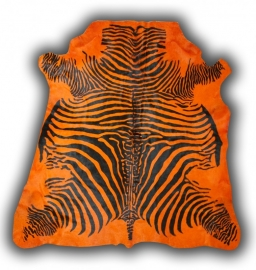 Zebra Printed Cowhide Orange