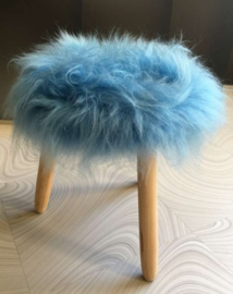 Blue Icelandic Sheepskin Stool