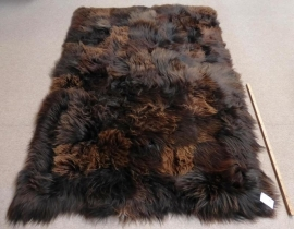 Brown Patchwork Sheepskin Rug, +/- 150 x 220 cm