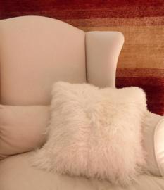 White Mongolian Sheepskin Cushion